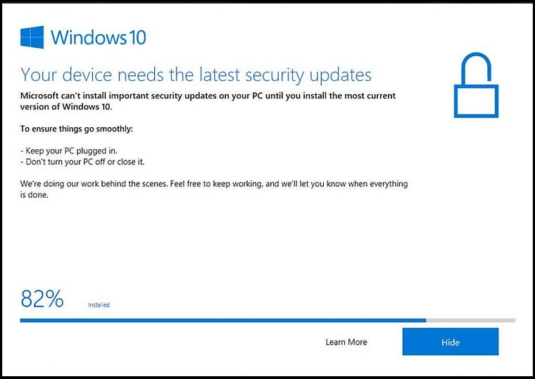 "Уведомление ""Your device needs the latest security updates"""